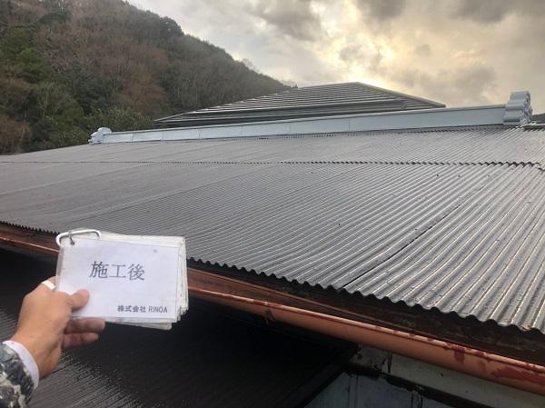 神奈川県平塚市 屋根塗装 トタン屋根 中塗り 上塗り ロックペイン ユメロックルーフ (6)
