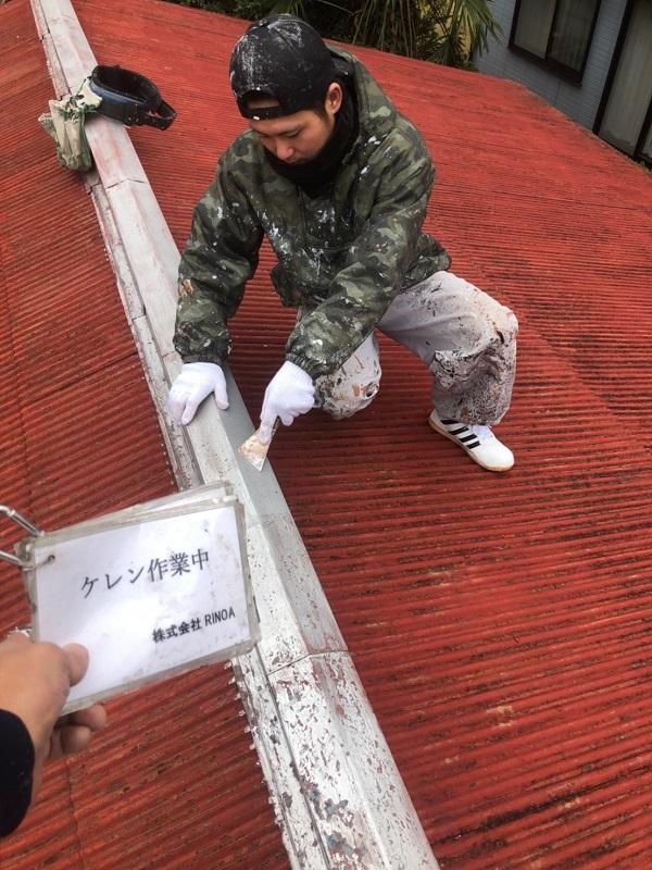 神奈川県平塚市 屋根塗装 トタン屋根 下地処理 ケレン作業2