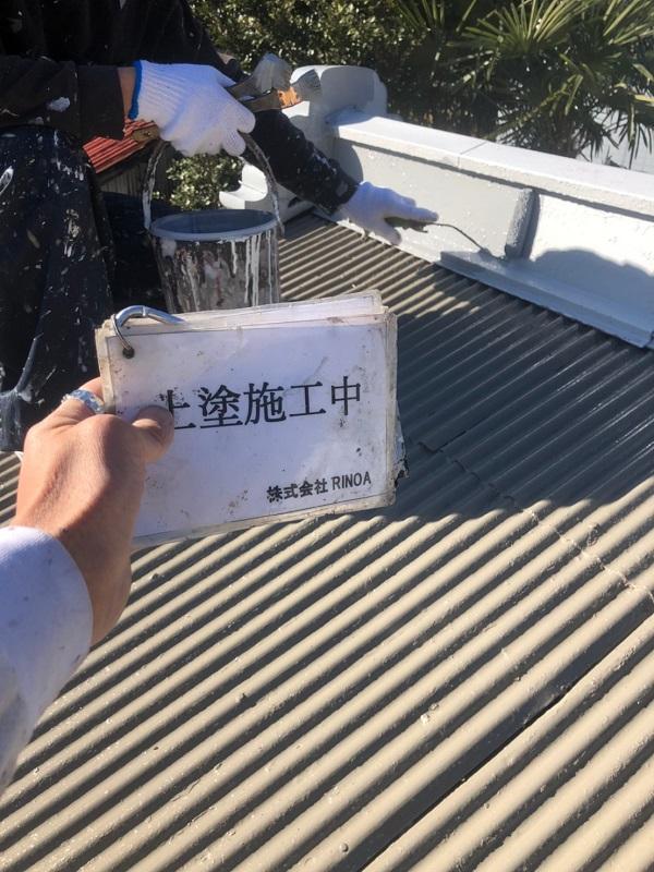 神奈川県平塚市 屋根塗装 トタン屋根 中塗り 上塗り ロックペイン ユメロックルーフ (3)