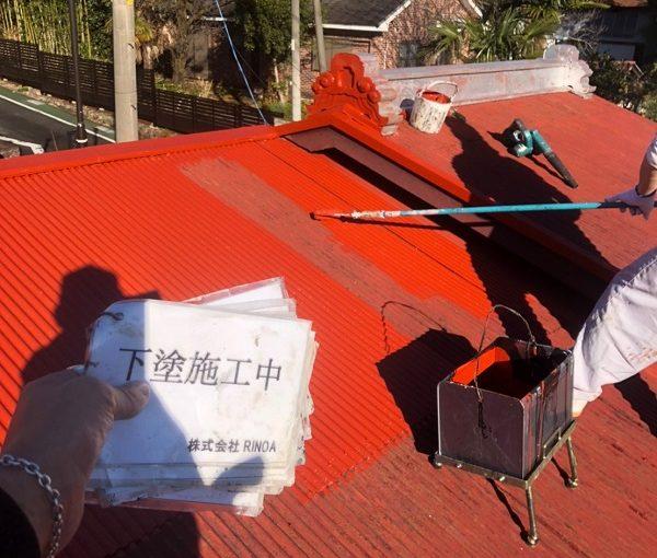 神奈川県平塚市 屋根塗装 トタン屋根 下塗り ロックペイント サビカット (2)