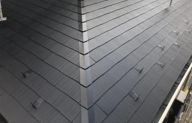神奈川県海老名市 屋根塗装 破損部分の履き替え工事 軒下塗装