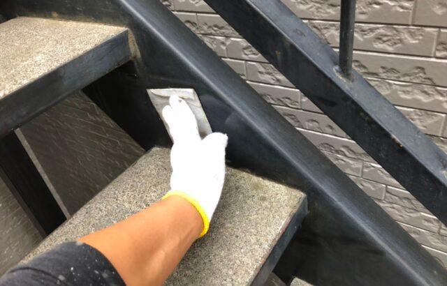 鉄骨階段の下地処理の画像